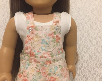 Floral Overalls for 18 inch Dolls Fits Like American Girl