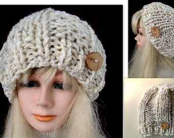 Chunky style Ribbed Slouchy Hat, KNITTING PATTERN, #831, women's winter accessories, men's hats