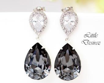 Dark Grey Earrings Swarovski Silver Night Earring Black Diamond Earrings Smoky Grey Earrings Charcoal Earrings Bridesmaid Earring SN31P