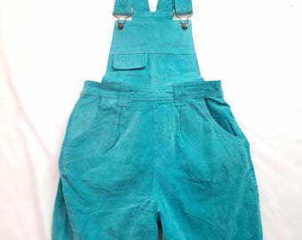 Vintage Suede Overalls Shortalls Shorts Womens Capezio Teal Size Medium Halloween Retro Romper