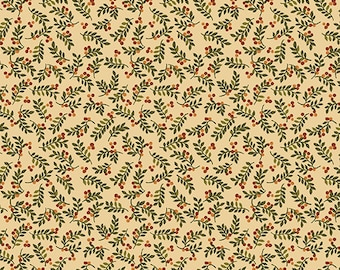 Benartex / Leaves And Berries / Cheryl Haynes / 02549 30 / Fabric / Quilting / Honey