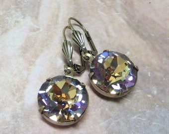 Vitrail Glass Earrings Rainbow Earrings Vintage Swarovski Fall Autumn Vintage Style Earrings Estate Style Earrings Jewelry Gift