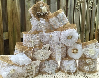 Set of 10 Quart Size Mason Jar sleeves, twine, pearls, handmade, lace any color any size any style