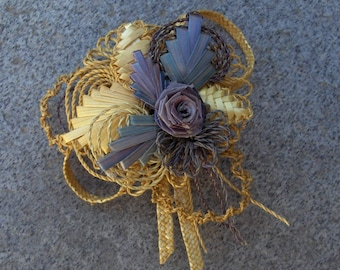 Wedding brooch/wheat straw natural and.