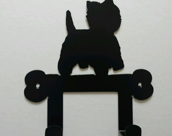 West Highland Terrier (Westie) on Bone Silhouette Dog Lead Holder Rack - metal wall art