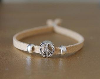 1 beaded PEACE AND LOVE - suede bracelet - Black Suede bracelet - hippie bracelet - beige silver charm bracelet - Bohemian bracelet-
