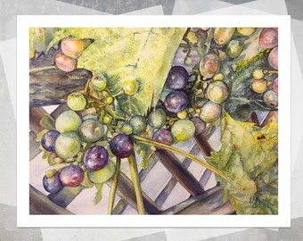 Grapes at Robbler Vineyard Giclee Print - Realistic Watercolor Painting, Grapes Painting, Kitchen Art, Wine Lover, Botanical Painting