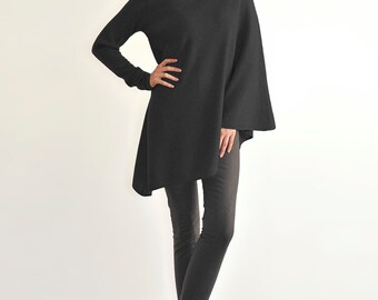 100% pure cashmere poncho One sleeve poncho cashmere cape tunic wrap dress jumper sweater knitwear knit black RRP375GBP shawl gift top