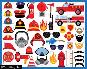 Fireman Props - Cutting Files SVG JPG Digital Graphic Design Instant Download Commercial Use Fire Man Photo Booth Glasses Hat (00057c)