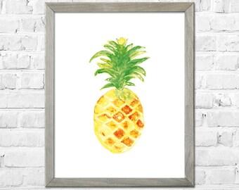 Pineapple Art Print, Pineapple Watercolor Painting, Kitchen Decor, Pineapple Wall Art, Pineapple Art, Pineapple Decor, Kitchen Art