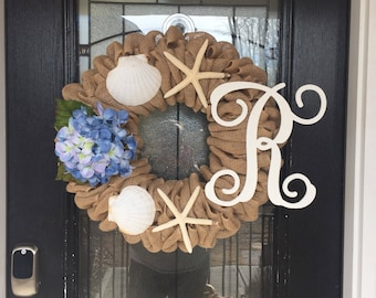 Burlap Wreath with beige burlap and beach and  starfish  theme with hydrangea; everyday wreath