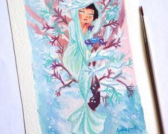 Winter Mermaid - Alphonse Mucha inspired series - 5 x 7 inches - Fine Art Print