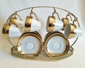 ANTIQUE LUSTREWARE DEMITASSE Teacups & Holder Rack - Gold and Iridescent Pearl Lustre China Demitasse Set - Antique Pearl Lustre