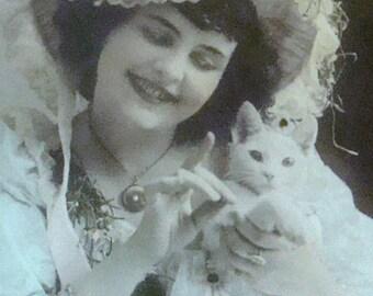 Vintage RPPC (Pretty Lady & Cat)