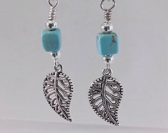 Turquoise and Silver Leaf Earrings Silver Plated Beads and Charms