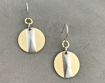 Dangle circle earrings gold, silver gold disc earrings, sterling silver dangle earrings.