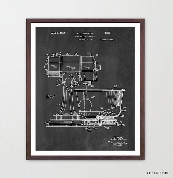 Kitchen Aid - Kitchen Aid Poster - Kitchen Aid Print - Kitchen Aid Patent - Kitchen Poster - Kitchen Wall Art - Baking - Cooking -Kitchenaid