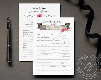 Wedding Mad Lib Guestbook Alternative, Wedding advice card PDF download, Bride and Groom wedding madlib, pink and black wedding comment card