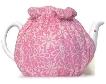 Teapot Cozy, quilted tea warmer with Light pink flowers on Pink  for a 5-8 cup teapot #514