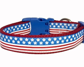 July 4th - Flag - Memorial Day - Stars and Stripes Dog Collar - American - USA - Puppy - dog gift - holiday -
