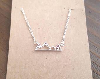 Mountain Necklace, Silver Mountain Necklace, Silver Mountain Pendant Necklace, Mountain Jewelry, Mountain Lover Gift