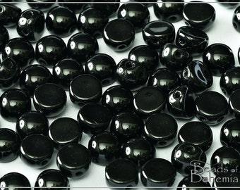 12 pcs Jet 2 Hole Czech Cabochon Beads 6x4 mm (9763)