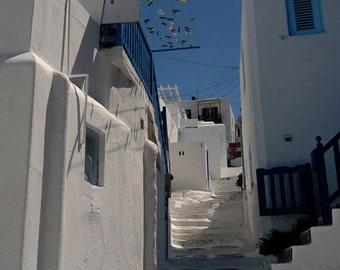 Mykonos.  Greek Isles. Back Ally. Steps. Wall Art.