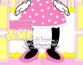 Scrapbook Page Kit Layout Disney Summer Vacation Minnie & Me Girl 2 page Scrapbook Layout Kit 3