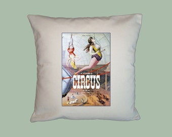 The Circus Vintage Book HANDMADE 16x16 Pillow Cover - Choice of Fabric