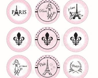 INSTANT DOWNLOAD - Paris Parisian Bottle Cap Images - 4x6 Digital Sheet - 1 Inch Circles for Bottlecaps, Hair Bow Centers, & More