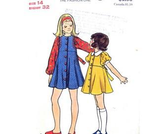 Girls Babydoll Dress Pattern Butterick 3016 Flared Dress Puff Sleeves Tween Girls Size 14 Vintage Sewing Pattern