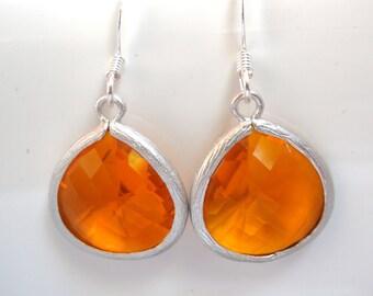 Orange Earrings, Silver Earrings, Silver Orange Earrings, Tangerine Earrings, Bridesmaid Earrings, Bridal Earrings Jewelry, Bridesmaid Gift