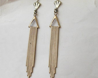 Gold Art Deco Earrings, Antiqued Gold, Deco Wedding, Choose Surgical, Plated or Gold Filled Hooks, Studs or Lever Backs