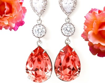 Coral Earrings Bridal Earring Swarovski Rose Peach Earrings Peach Teardrop Earrings Bridesmaid Coral Earrings Beach Wedding Jewelry CO31PC