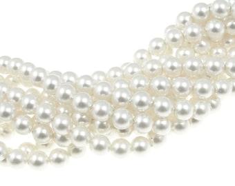 100 WHITE 5mm Swarovski Pearl Beads 5810 5mm Swarovski Crystal Pearls White Bridal Wedding Jewelry Beads