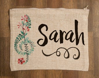 "Personalized Music Themed Zippered Cosmetic Bag - Faux Burlap with Treble, Bass, or Alto Clef 8"" x 9.5"""
