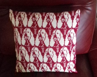 Handmade knitted Bassett Hound Cushion cover complete with infill