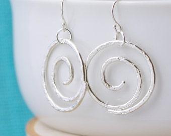Spiral Earrings, Dangle Earrings, Hammered Earrings, Argentium Sterling Silver, Handmade, Gift For Her