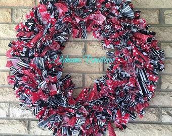 Fabric Wreath, Red and Black Wreath, Front Door Wreath, Rag Wreath, Summer Wreath, Spring Wreath, Indoor Wreath, Rustic Wreath, Office Decor
