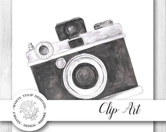 Watercolor Clipart - Camera, Instant Download, Handpainted, Detailed Artwork - Large format