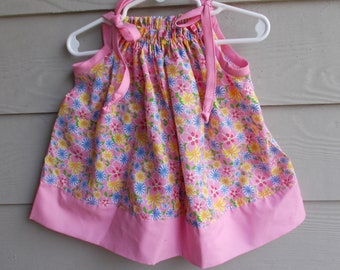 Handmade Floral Pillowcase Dress  6-12 mth - infant sundress, girls sundress, sleeveless dress, girls clothing, beach pillowcase dress