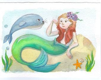 Mermaid Original Watercolor