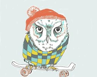 This Is Serious, Owl Skateboarder, Children Illustration, Kids Art Print, Fun Nursery Art
