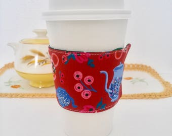 Coffee Cozy, Coffee sleeve, Coffee Cup Cozy, Alice In Wonderland Coffee Cozy, Red Coffee Cup Cozies, Fabric Coffee Cozy