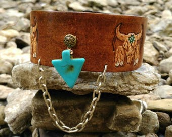 Southwest leather cuff with turquoise arrow head