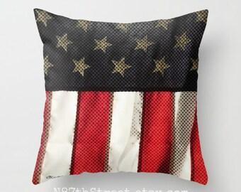 """USA 16 x 16"""" taie d'oreiller. Photo d'Art, TMCdesigns. Patriotique. Stars & Stripes. Drapeau américain. Liberté. Décor à la maison. Le 4 juillet. Bronzage bleu blanc rouge"""