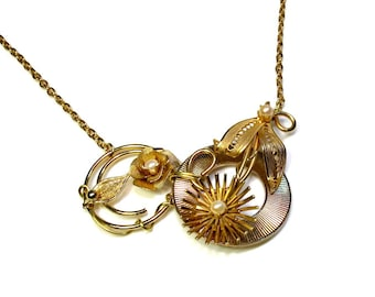 Upcycled Vintage, Repurposed Jewelry, Statement Necklace, Gold Flower Necklace, Gift For Her