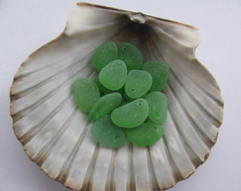 Beach Seaglass Beads Green, Top Drilled Vintage, Genuine Beach Glass, Sea Glass, Jewelry Making Supply