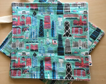 Chicago Skyline Washcloth Dish Cloth Architecture Buildings