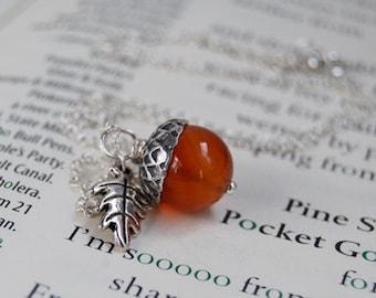 Carnelian and Silver Acorn Necklace   Gemstone Acorn Charm Necklace   Cute Acorn Necklace